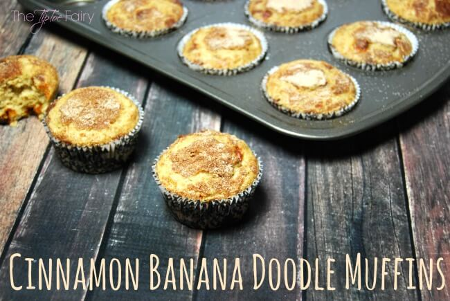 Cinnamon Banana Doodle Muffins - with a secret ingredient! Snickerdoodles and Banana Bread had a baby! #peanutbutterbash | The TipToe Fairy