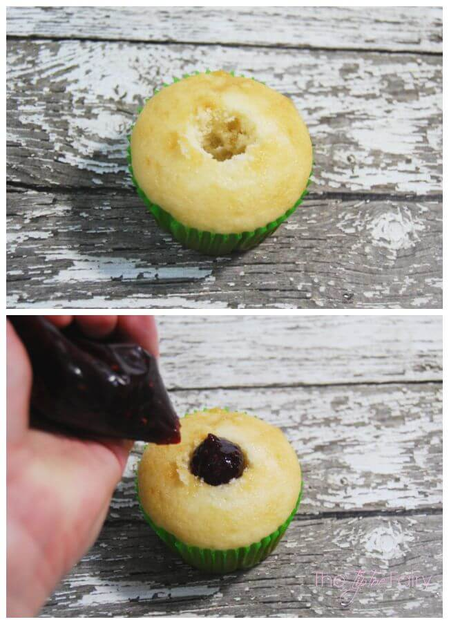 Remove the middle of the cupcakes and fill with raspberry jam to look like they are bleeding when you take a bite.