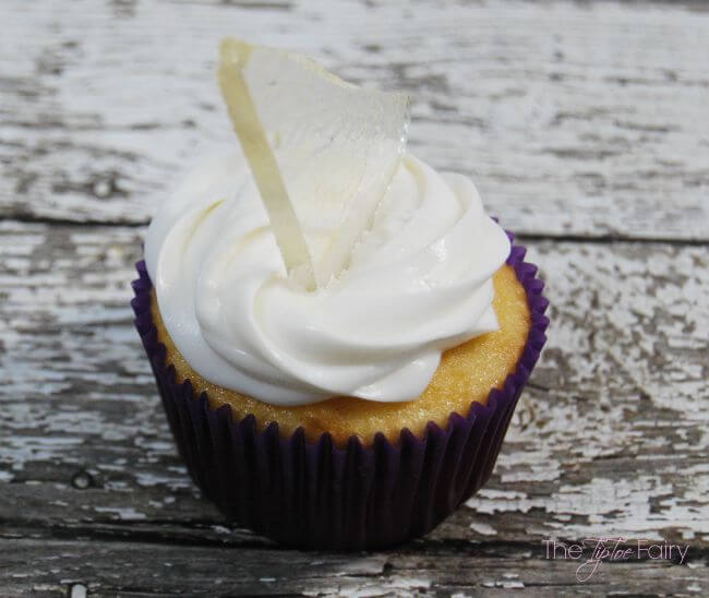 Close up view of the sugar glass shards cupcake