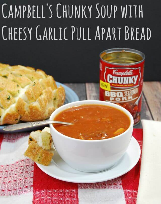 Campbell's Chunky Soup with Cheesy Garlic Pull Apart Bread - pair perfectly for lunch, snack or dinner! #ad @CampbellsChunky | The TipToe Fairy