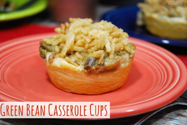 Close up view of a single serving Green Bean Casserole Cup