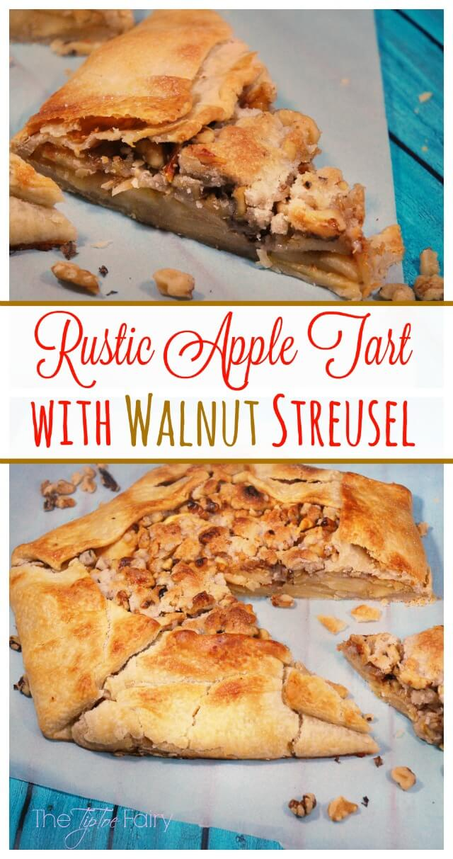 Rustic Apple Tart with Walnut Streusel with dulce de leche - perfect for Thanksgiving! #ad #justaddwalnuts | The TipToe Fairy