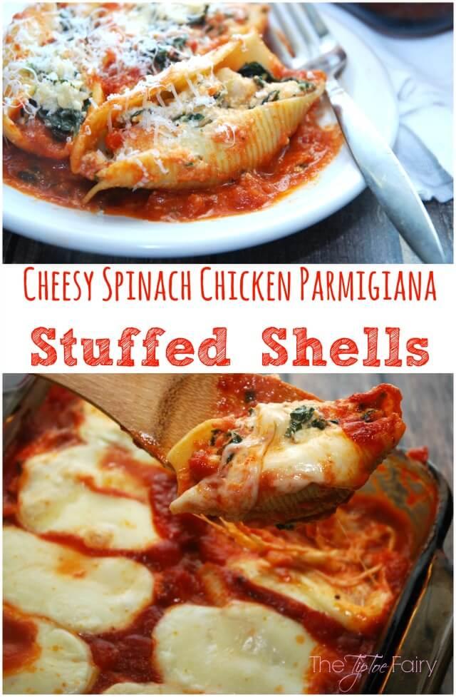 Cheesy Spinach Chicken Parmgiana Stuffed Shells #WinnerWinnerPerdueDinner #Contest AD #food
