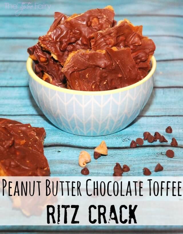 Easy Chocolate Peanut Butter Toffee Ritz Cracker Crack #yum #food #dessert #peanutbutterbash