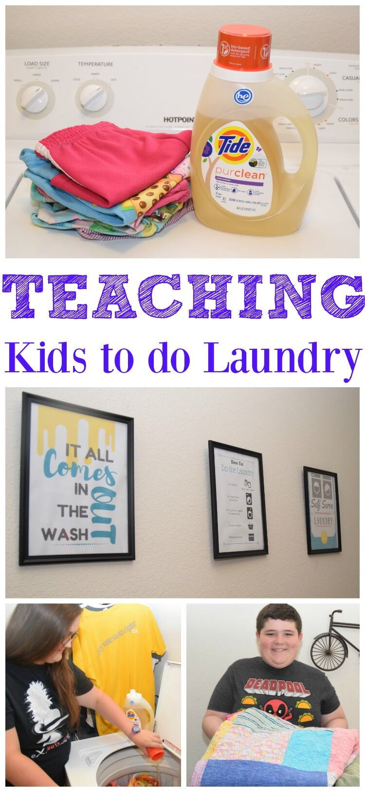 Teach your #kids how to do laundry in stages! Plus #FREE Printables! #TidePurclean #IC #ad