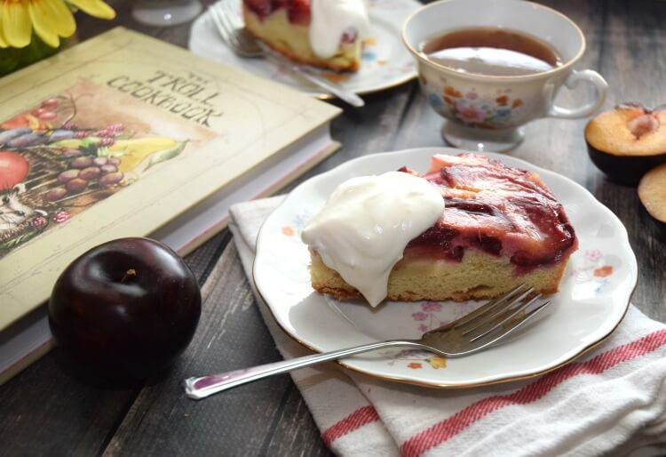 Upside Down Plum Cake inspired by The Troll Cookbook! #ad #bookreview #foodie