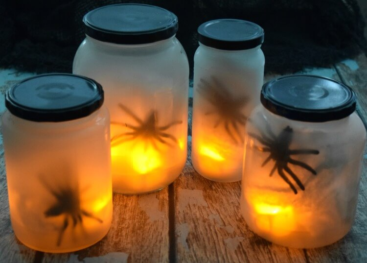 The completed jars as Flickering Spider Lights
