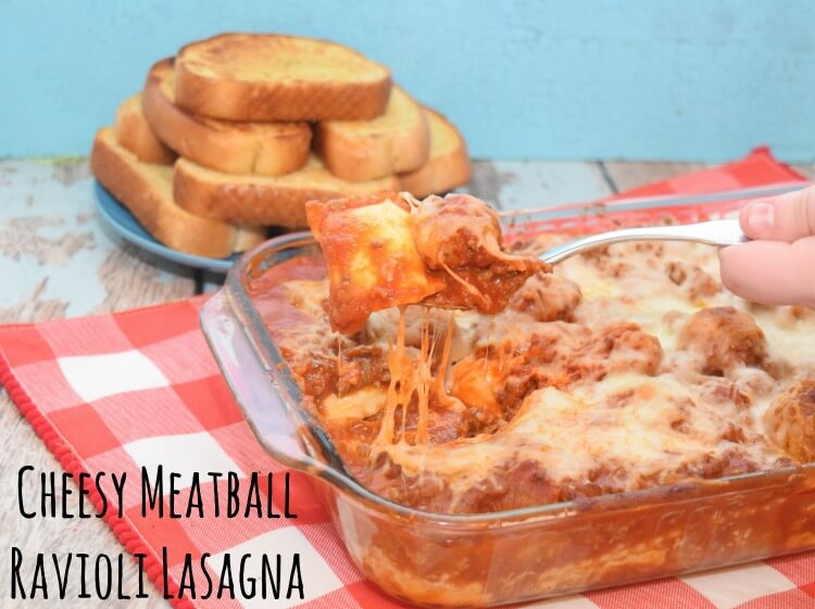 Cheesy Meatball Ravioli Lasagna - super easy & perfect for Nat'l Meatball Day! #ad #MeatballPerfection
