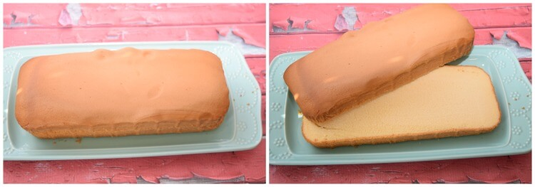 A collage of two photos showing how to slice the Sara Lee pound cake lengthwise to create two layers.