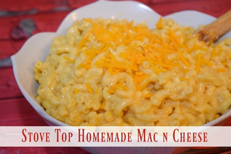 A finished bowl of stove top homemade mac and cheese