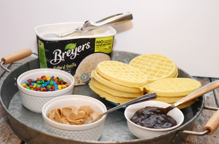 Make Easy Waffle Ice Cream Sandwiches with your own #EggoWaffleBar! #ad