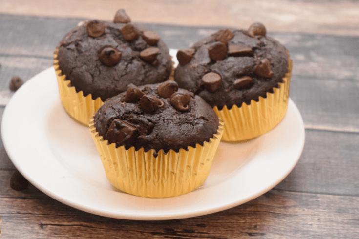 Peanut Butter Stuffed Chocolate Muffins