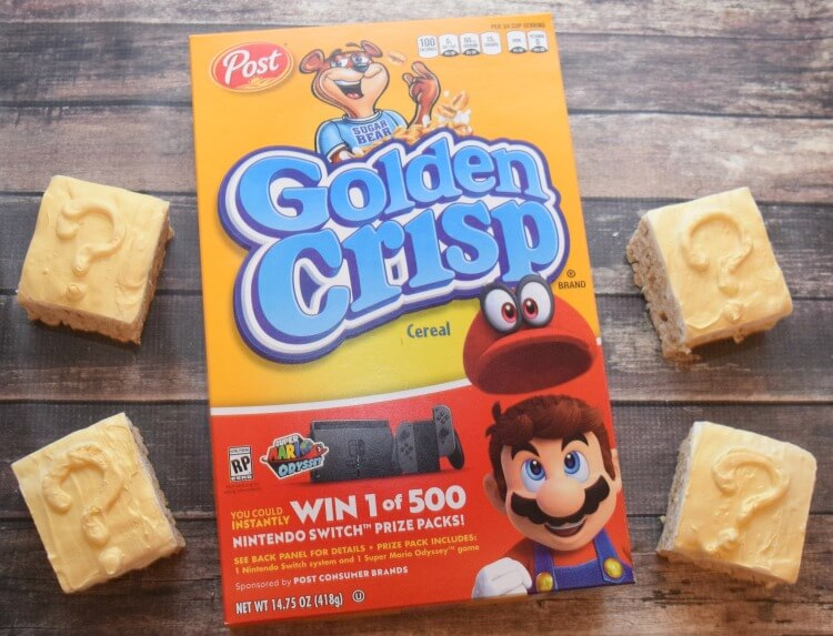 Super Mario Question Mark Box Treats w/ Golden Crisp® & enter to win a Nintendo Switch! #ad