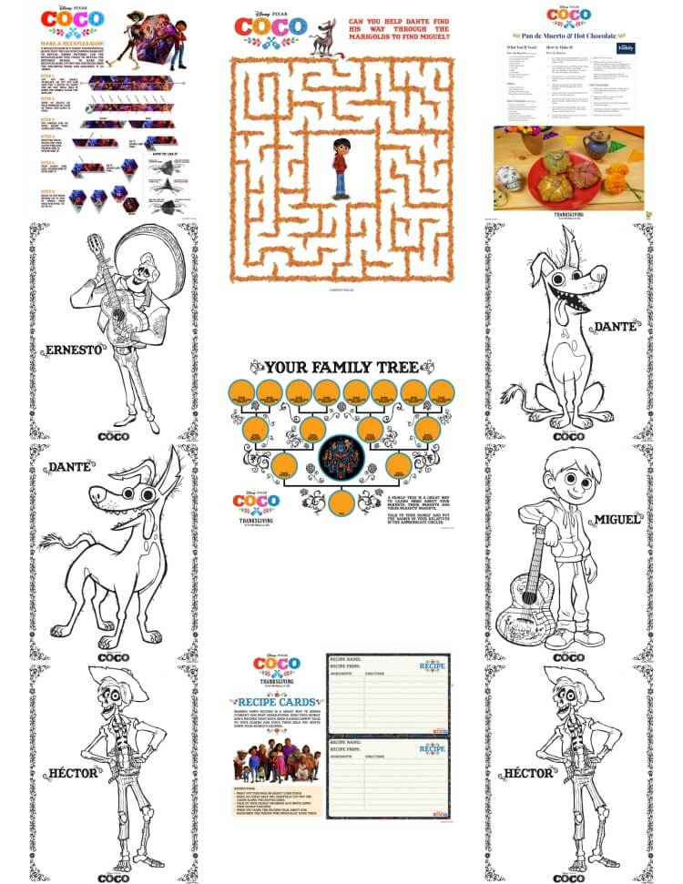 Activity sheets from the new movie @Disney @Pixar COCO!