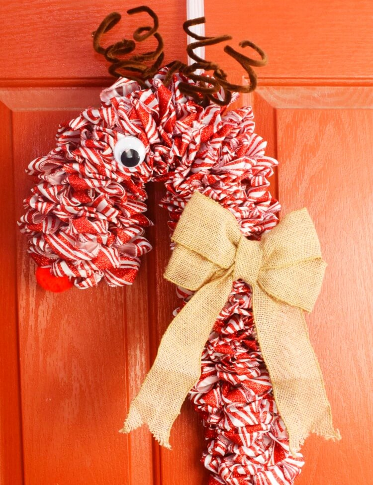 How to make a Candy Cane Reindeer Wreath