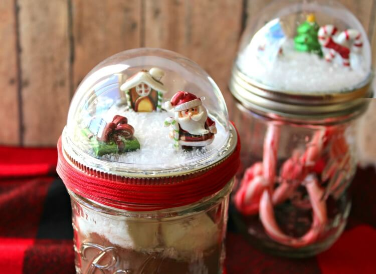Wide view of two Mason Jar Snow Globes
