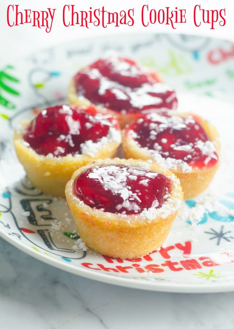 Cherry Christmas Cookie Cups - perfect for Santa
