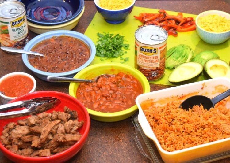 Ingredients for Steak Burrito Bowls