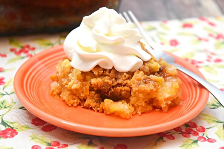 So easy an 8 year old can make this peach dump cake.