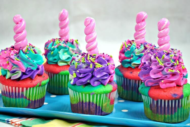 Rainbow Unicorn Cupcakes would make the perfect birthday treat!