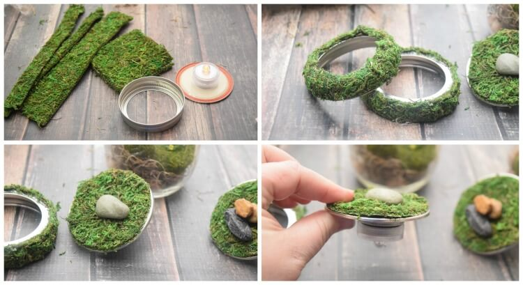 Cut a moss sheet and cover the mason jar lid with moss, rocks, and mini dinos to decorate your dinosaur terrarium.