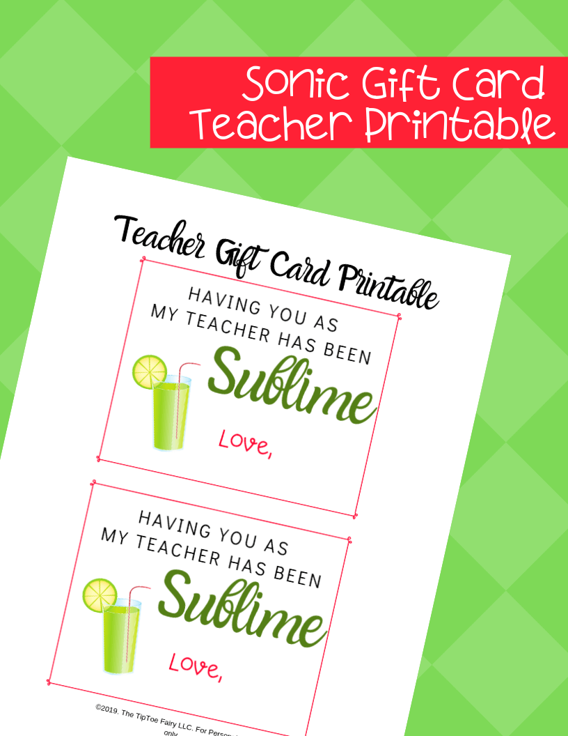 Sonic Gift Card Printable for end of year Teacher Gift
