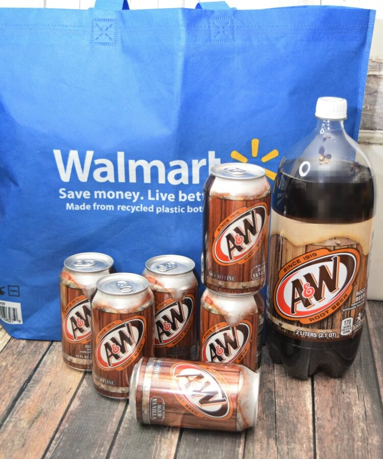 A&W Root Beer with a Walmart bag.