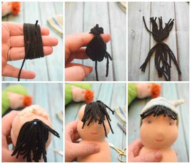 How to make a tuft of hair bangs for a swaddle baby doll using yarn.