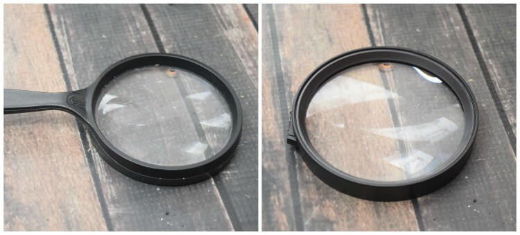 Cut the handle off the magnifying glass.