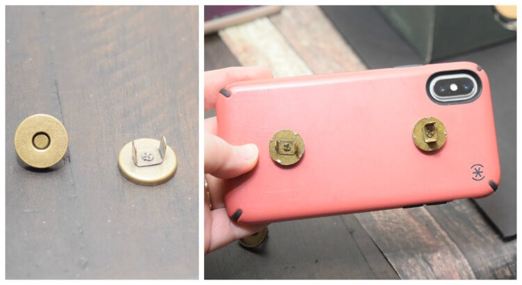 Use magnetic purse closures to attach the phone to the shelf.