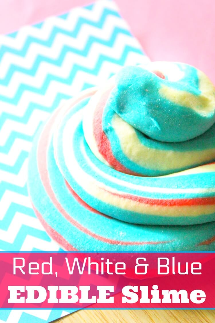 Swirls of red, white, and blue edible slime