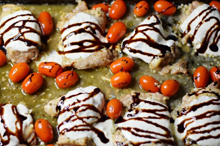 Chicken Thighs and grape tomatoes drizzled in balsamic glaze