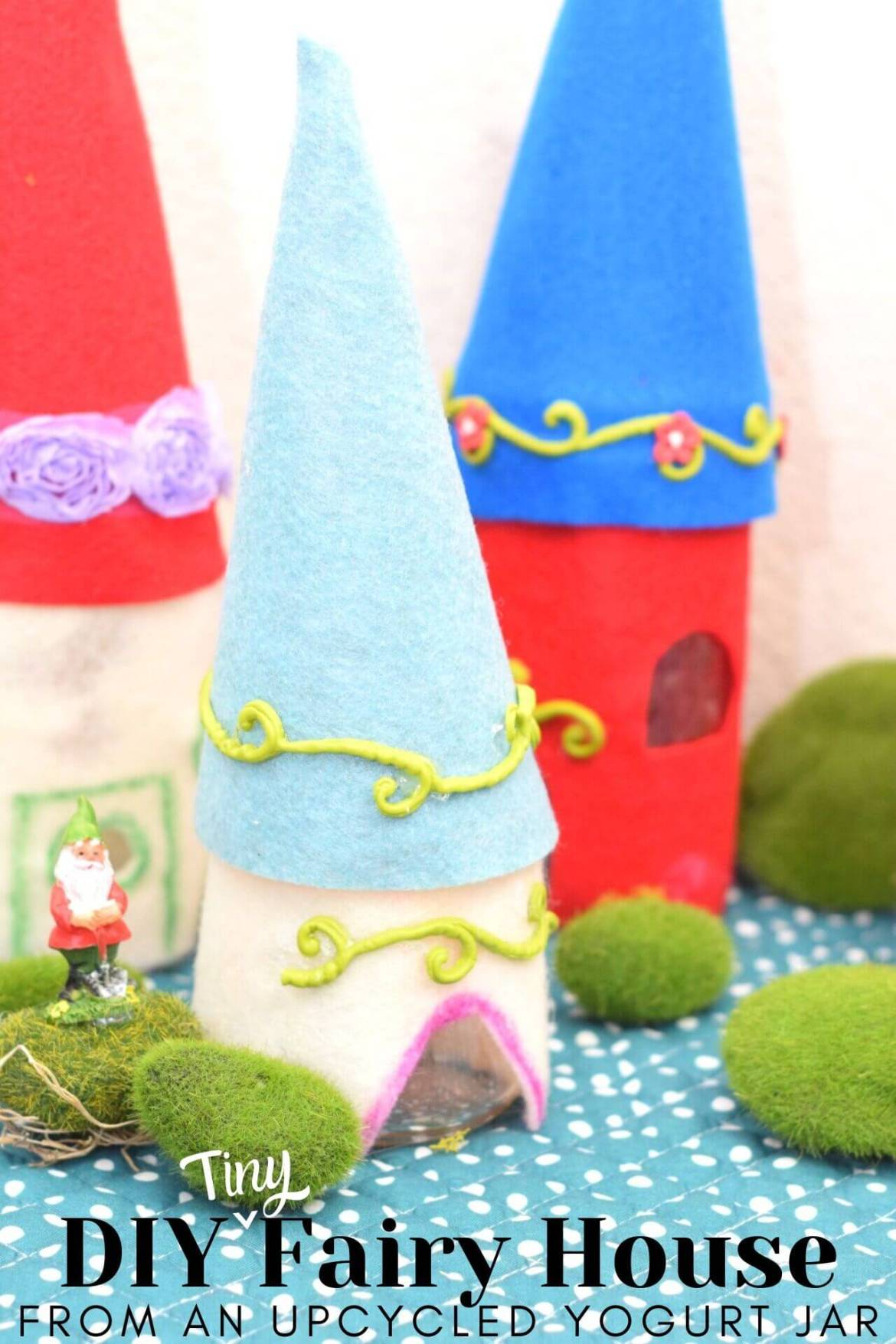Make a Flickering Light Up Tiny Fairy House from upcycled Oui Yoplait yogurt jars.