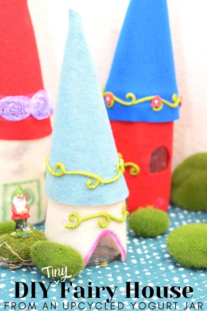 fairy houses made of mason jars and Oui yogurt jars.