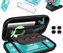 9 in 1 Accessories Compatible with Nintendo Switch Lite, Protective Portable Hard Shell Carrying Case with 8 Game Card Slots, Clear Case, Play Stand, 9H Screen Protector, Joy-Con Thumb Grip Caps