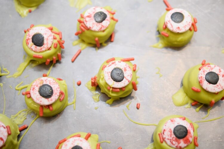A close up view of the zombie eye cookies.