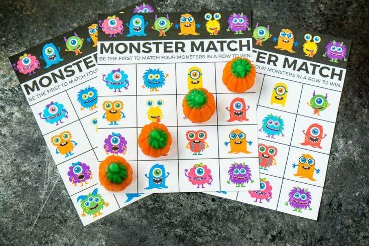 Free Printable Monster Match Halloween Bingo Cards