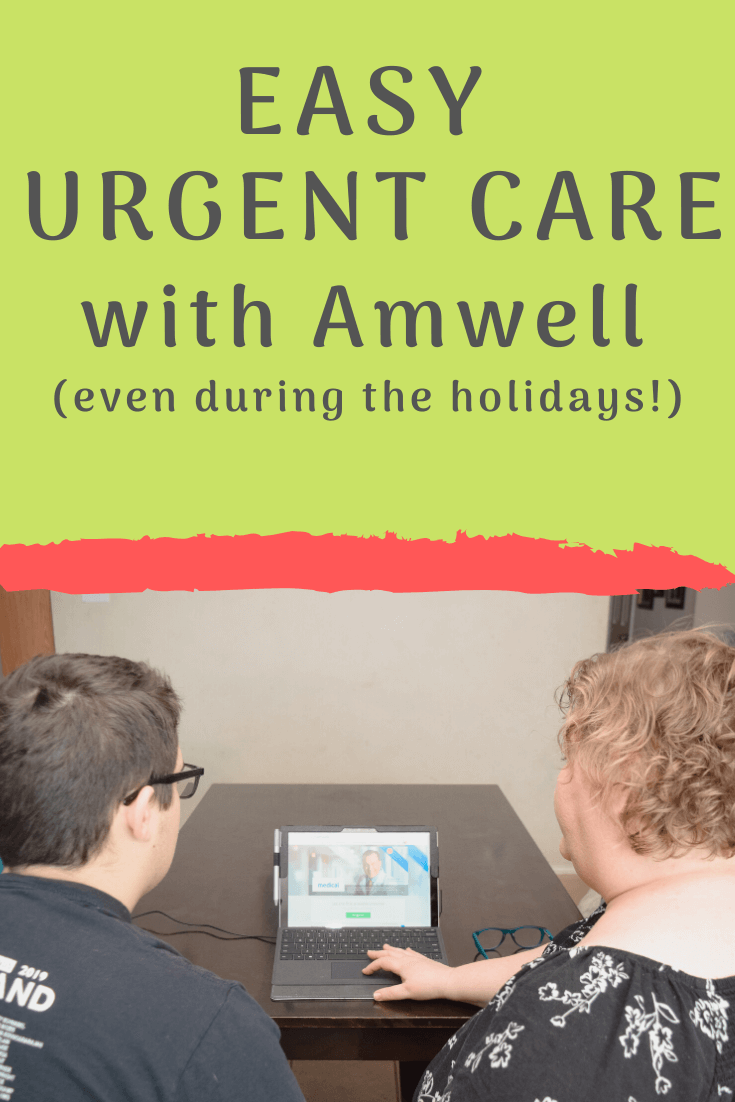 Mom and teenage son using the computer for Easy Urgent Care with Amwell.