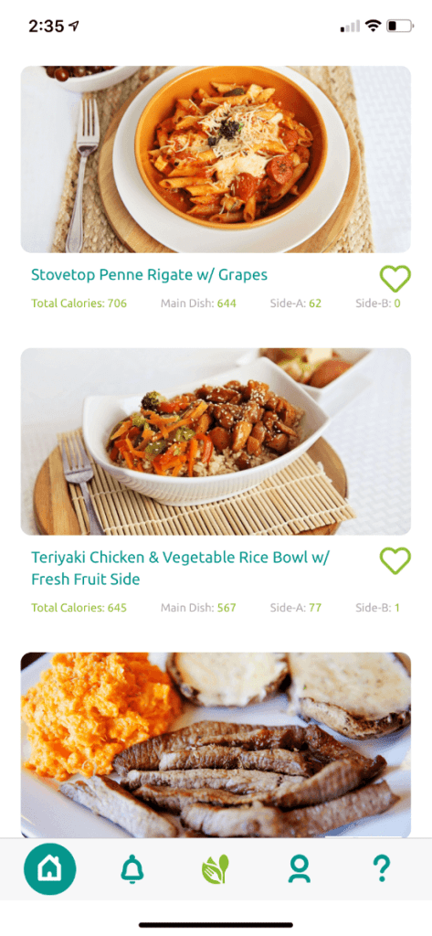 A screenshot of The Dinnerhub showing my three weekly meal plans.