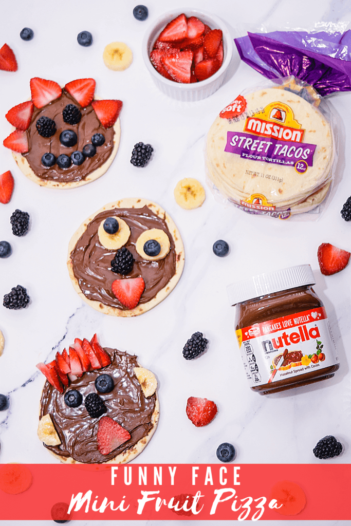 A flat layout of three funny face fruit pizzas with Nutella and Mission Street taco flour tortillas.