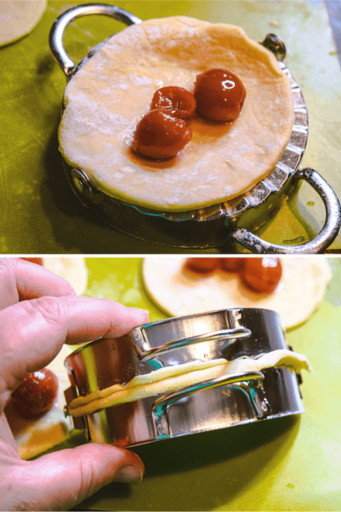 A collage of photos showing how to fold over the tart cherry hand pies and pressing them closed.