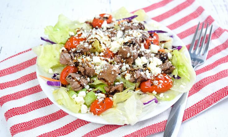 Greek Salad with Steak Bites (+Greek Dressing)