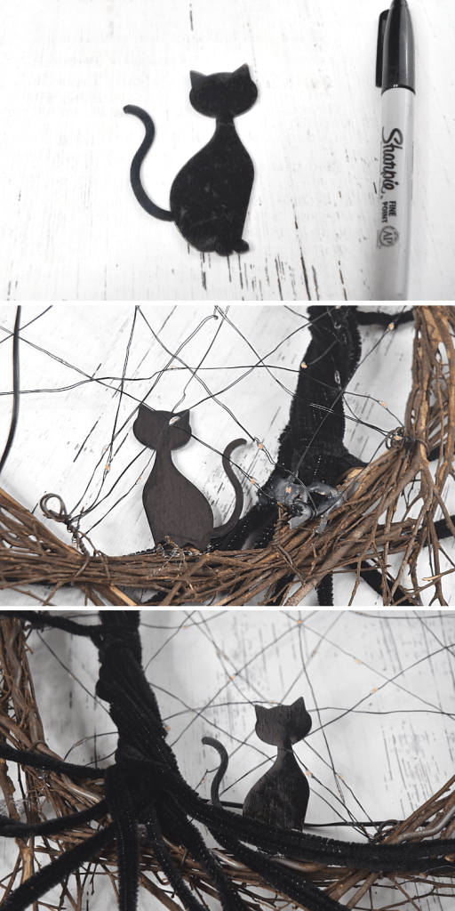 Close up collage images of how to attach the black cat next to the tree in the wreath.