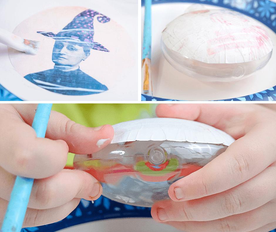 Collage to make DIY Vintage Halloween Ornaments