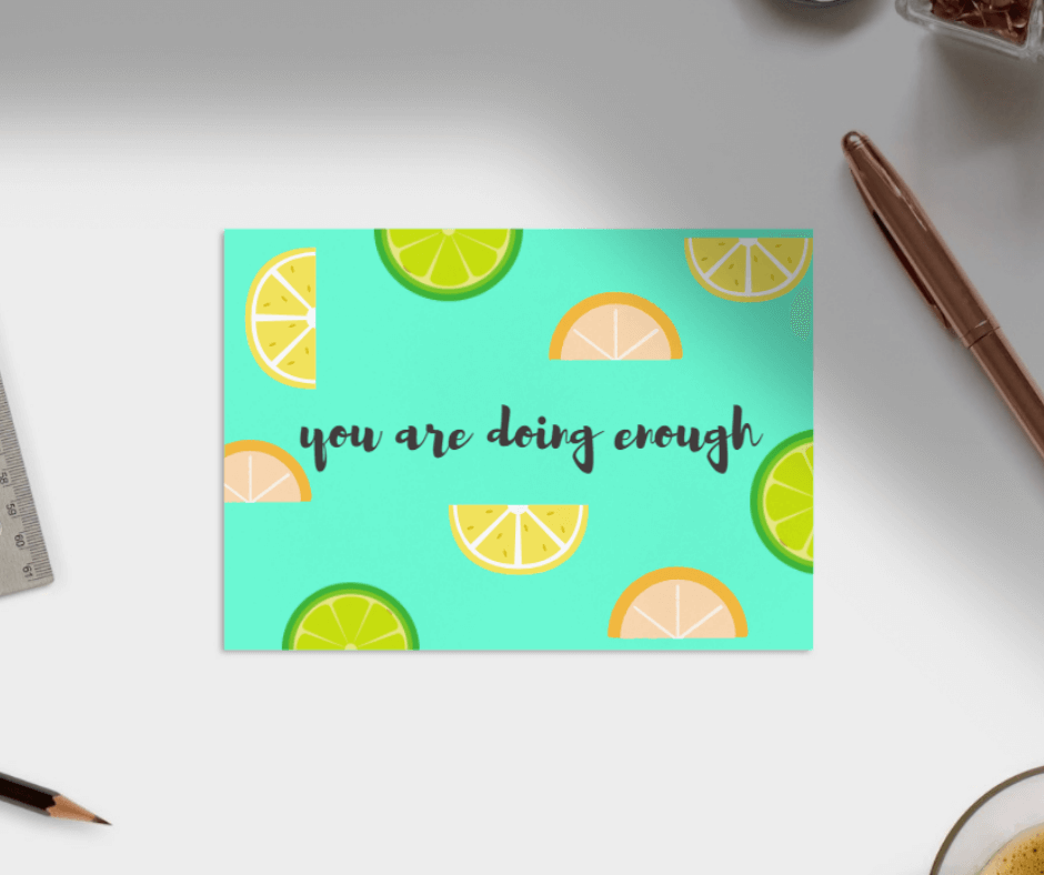 You are doing enough - encouragement postcards - free printable download