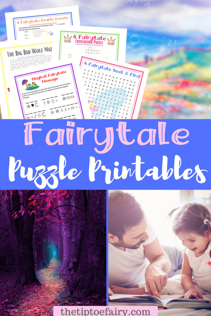 Title image colage for fairytale puzzle printables.