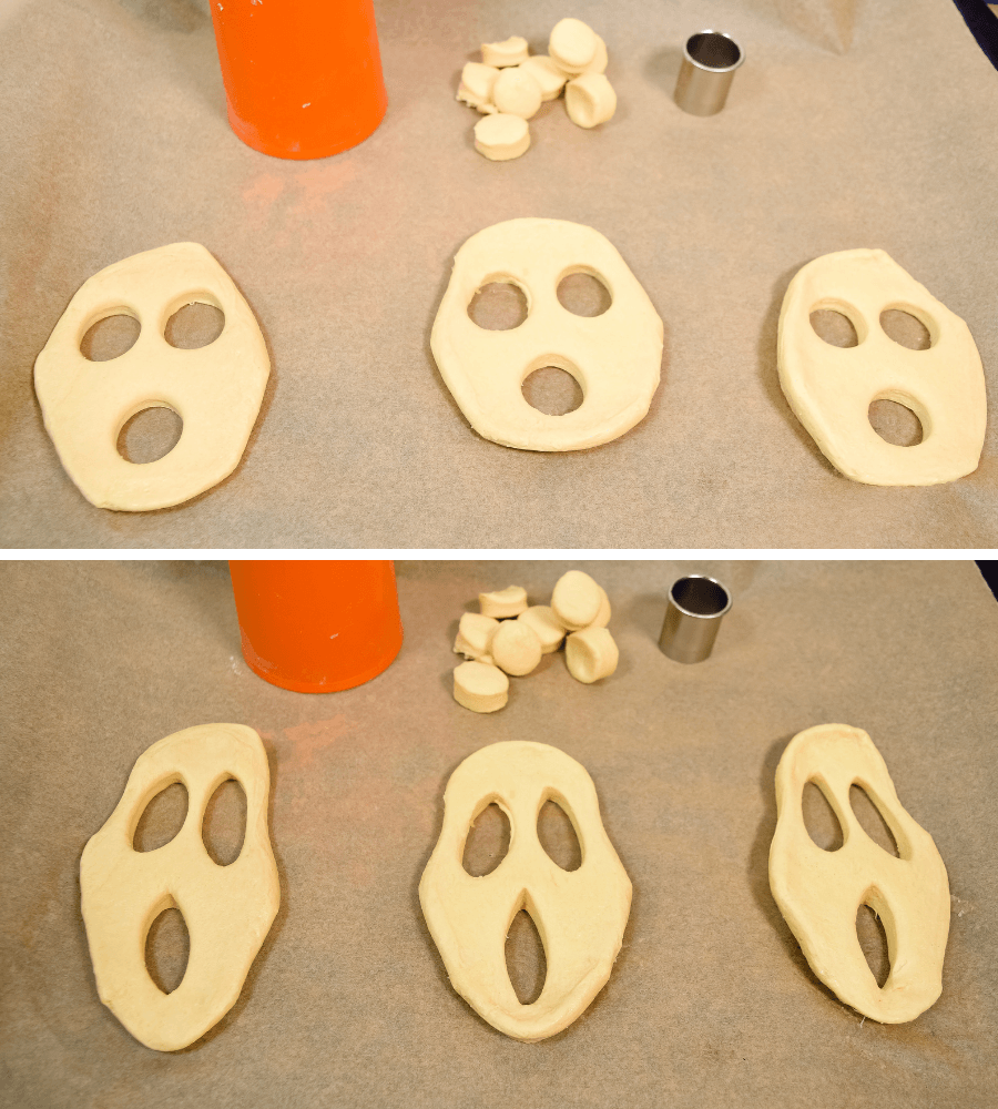 Second collage of images showing how to cut the biscuits eyes and mouth and elongate them to look like screaming donuts.