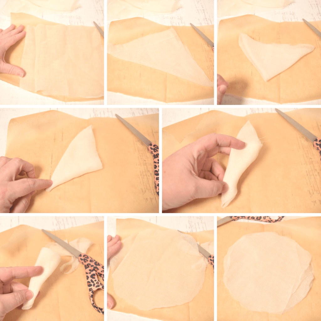 Collage of images showing how to fold and cut a piece of cheesecloth for a ghost.