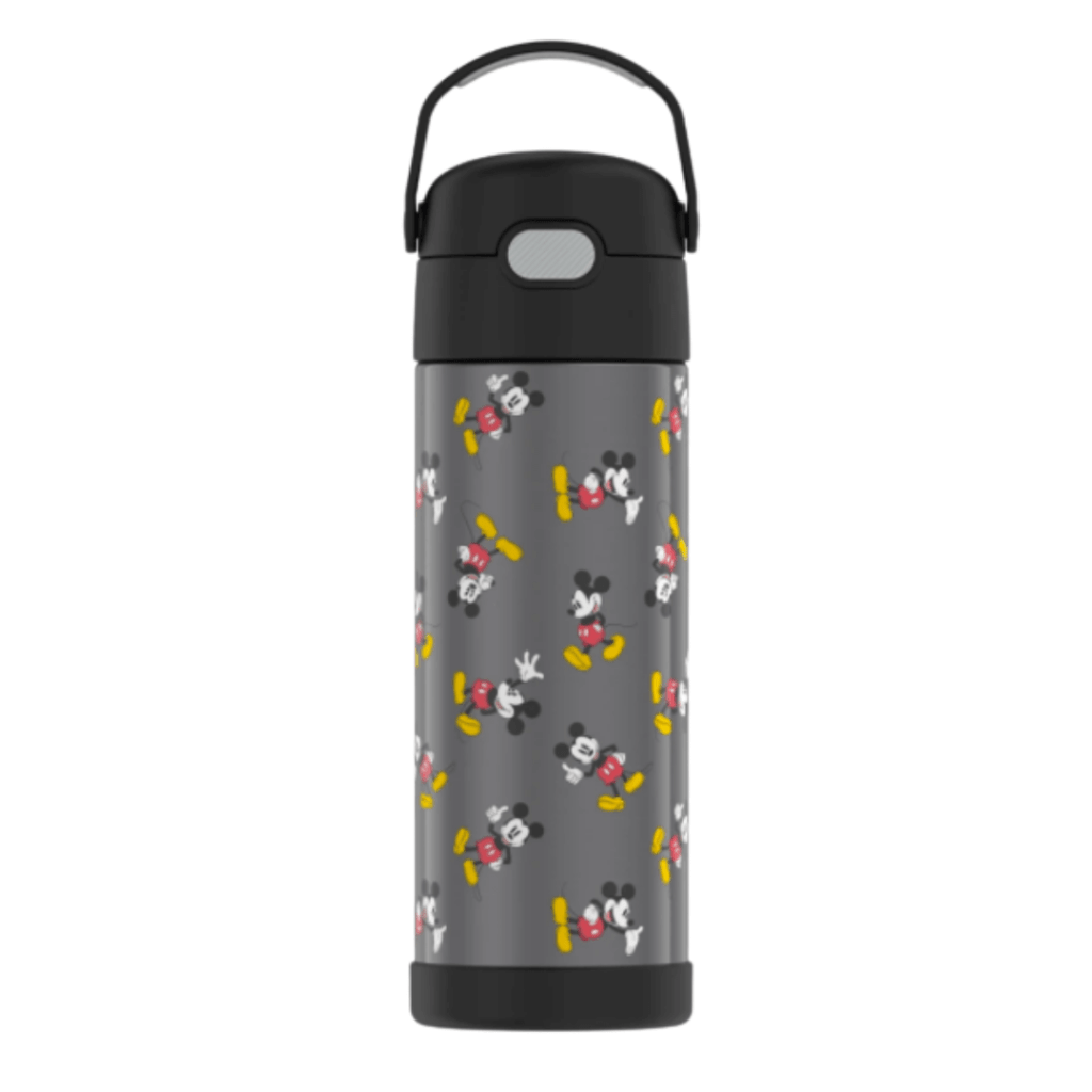 Mickey Mouse water bottle with lid and handle in dark gray.