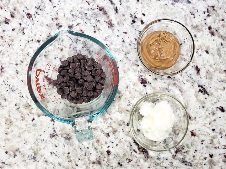 Ingredients to make ice cream shell.